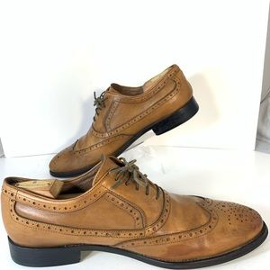 Johnston Murphy Chestnut Brogue Oxford Shoes Sz 11